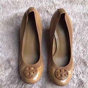 Tory Burch Caroline wedge patent shoes